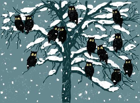 Vectortekening van de uilen in een dag van de de wintersneeuw.