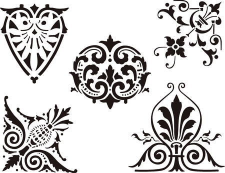 The vector image of the vintage design elements.
