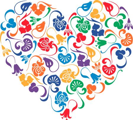 Het vectorbeeld van een kleurrijk bloemen decoratief hart. Stock Illustratie