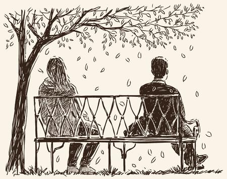 公園のベンチで口論中のカップルのベクター画像。  イラスト・ベクター素材