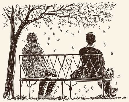Vector image of the couple in the quarrel on the park bench.