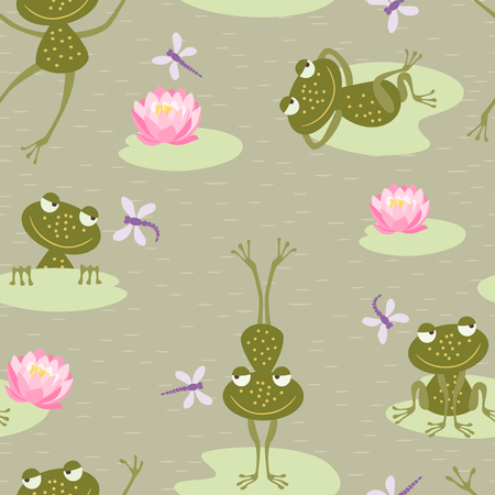 Vector pattern of the five cheerful frogs on a bog.