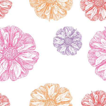 petal: Vector pattern of the different garden flowers.