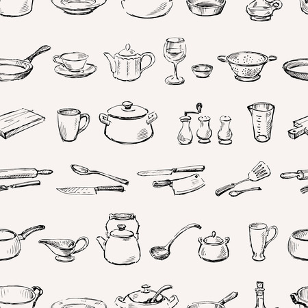 salt flat: Vector pattern of the various kitchenware. Illustration