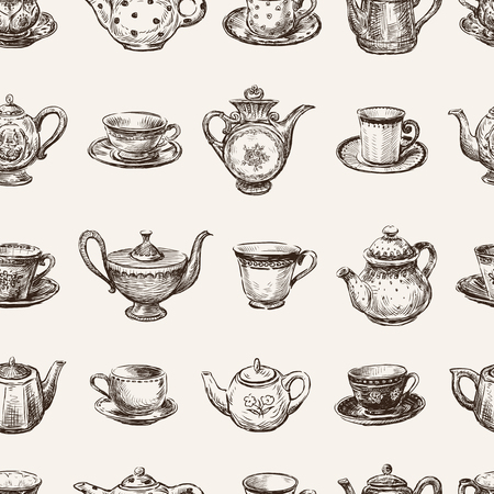 delftware: Vector pattern of the various teacups and teapots.