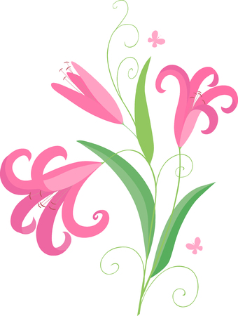 The vector image of a pink decorative flower.