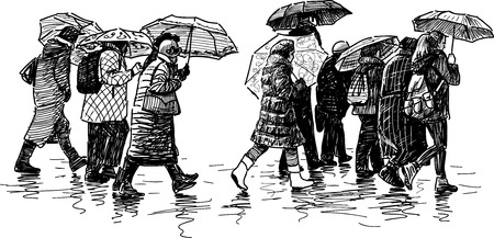 striding: Vector image of a crowd of city dwellers in the rain. Illustration