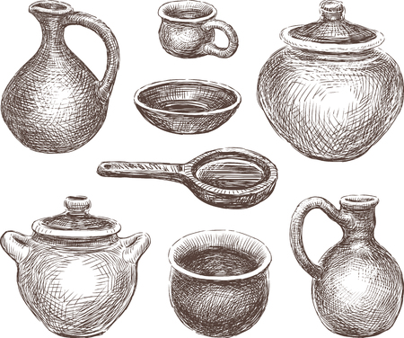Vector drawing of the clay pottery.