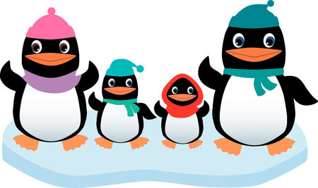 The vector image of the family of the penguins on an ice floe.