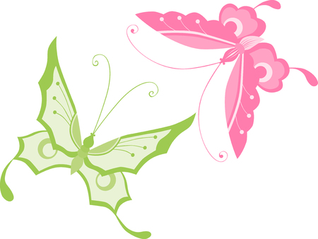 tendrils: The vector image of two decorative butterflies.