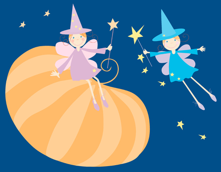 The vector image of two elves and a big pumpkin. Illustration
