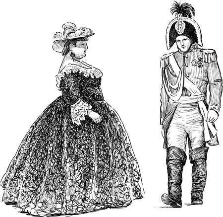 The vector drawing of the noble people of the 18th century.