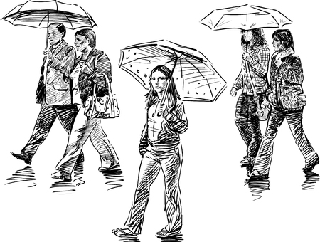 The vector sketch of the city dwellers in the rain.