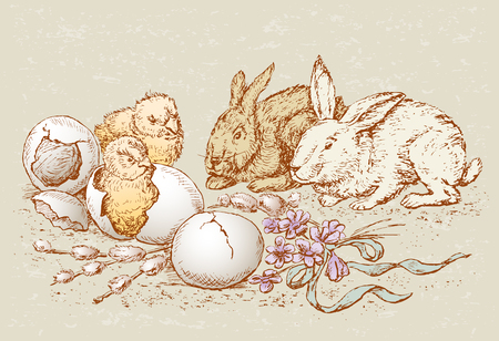 The vector drawing of the easter chickens and the rabbits.