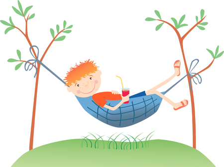 The vector image of a ridiculous redheaded boy having a rest in a hammock. Ilustração