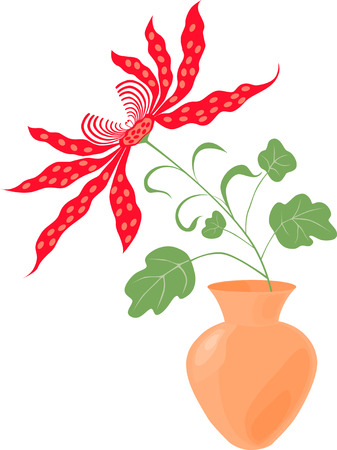 The vector image of a decorative flower in the vase.