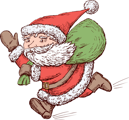 Vector image of a Santa Claus running.