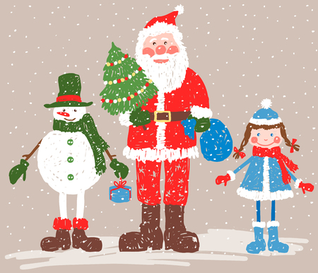 The vector image of a Santa Claus with his friends in the christmas eve. Illustration
