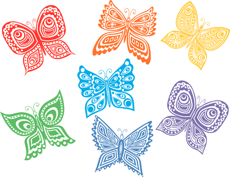 The vector image of the decorative butterflies.