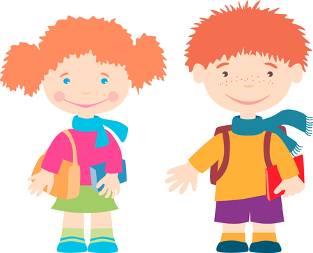 The vector image of the little smiling pupils. Illustration