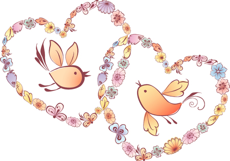 st valentin's day: The vector image of the decorative hearts and birds.