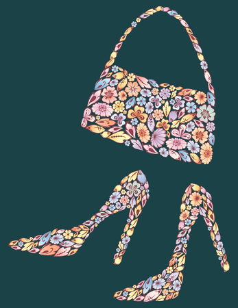 The vector image of the floral womans shoes and a handbag.
