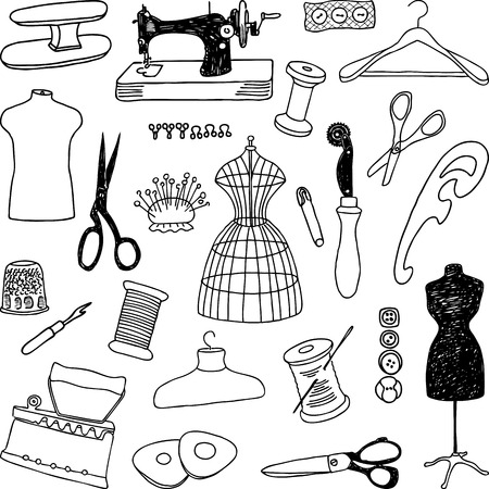 Vector pictures of the theme of the sewing. Illustration