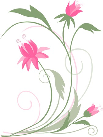 Vector figure of a decorative branch with flowers. Stock Vector - 80786803
