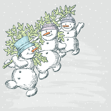 mather: Vector Drawing of a family of cheerful snowmen with a fir tree.