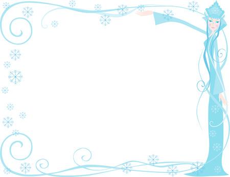 Dekorativer Winterrahmen mit der Schneekönigin und den Schneeflocken. Standard-Bild - 82158727