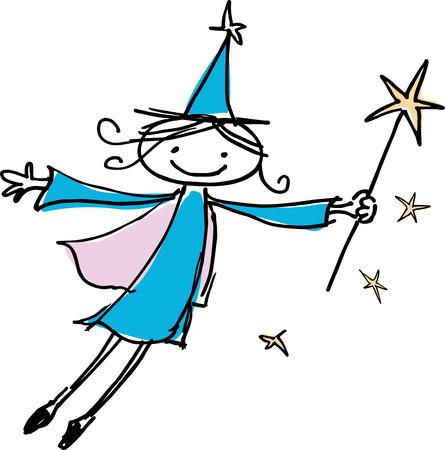 enchantress: Vector drawing of the small flying  enchantress.