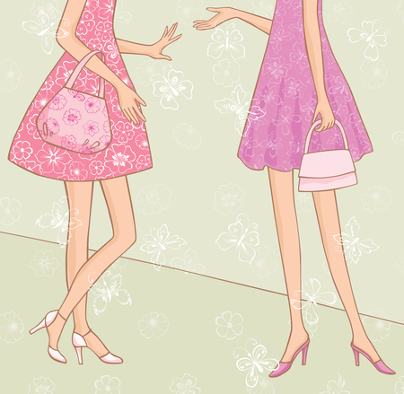 The vector image of legs and dresses of two talking girls.