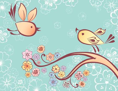 お互いに向かって飛ぶ 2 羽の鳥のベクトル イメージ     図面のさまざまな要素は、異なるレイヤー。    。  イラスト・ベクター素材