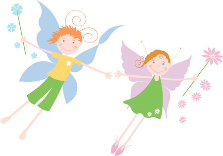 elves: The vector image of the two small cheerful elves. Illustration