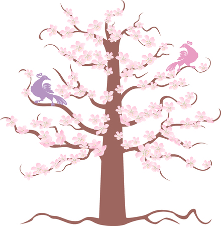 The vector image of a blossoming tree with two paradise birds sitting on branches.