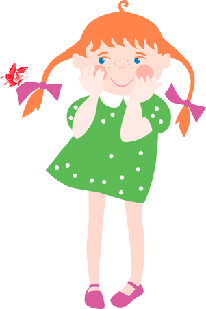 Vector figure of the little girl surprised by that on its hair the butterfly has sat down.