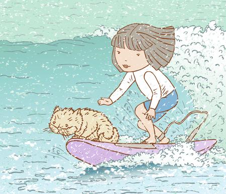 サーフボードで海の波で彼女の猫と少女  イラスト・ベクター素材