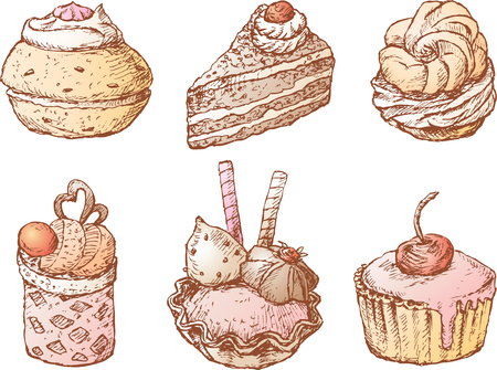 The vector image of sweet cakes in style of a sketch Illustration