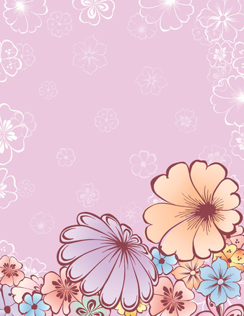 The vector background of the decrative flowers and butterflies Illustration