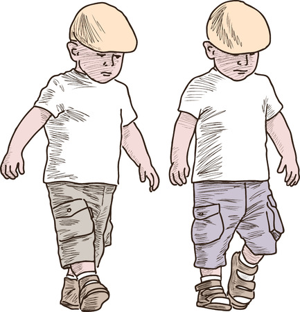 Little brother on a stroll. Illustration