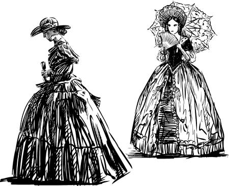 les femmes dans les robes du 19ème siècle