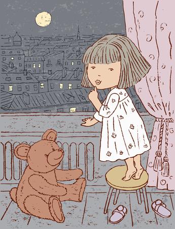 月に見ている小さな女の子の描画ベクトル。  イラスト・ベクター素材