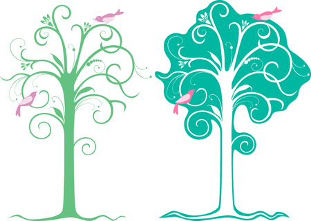 The vector image of the decorative trees with the birds.