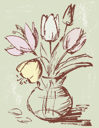 The vector image of the flowers in a vase.