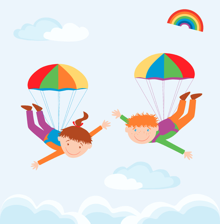parachutists: The vector image of the kids in the flight with the parachutes.