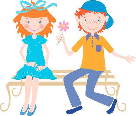 The vector image of two children sitting on a bench.