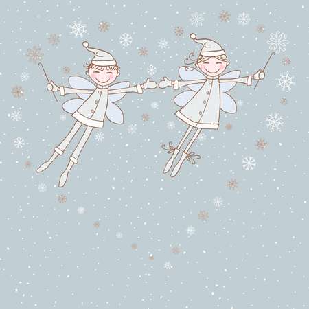 elves: The vector image of the flying winter elves.