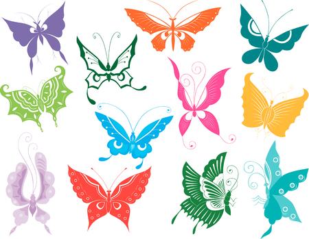 The vector image of the twelve decorative butterflies Illustration