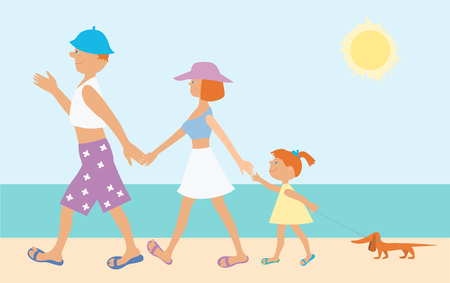 The vector image of the cheerful family going on seacoast.