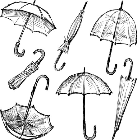 THe sketches of the different umbrellas